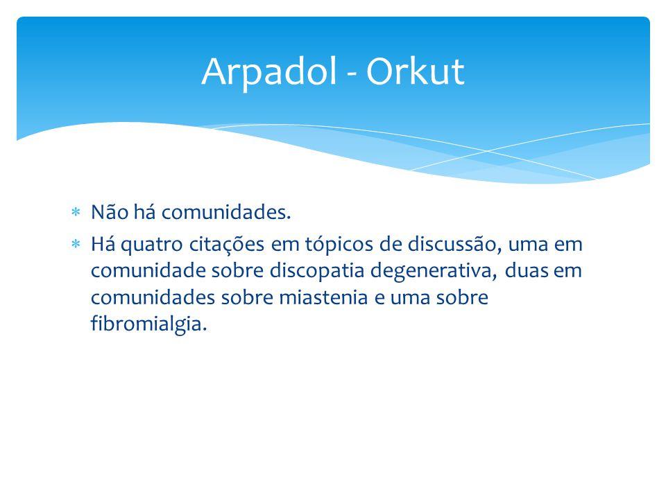 Arpadol - Orkut Não há comunidades.