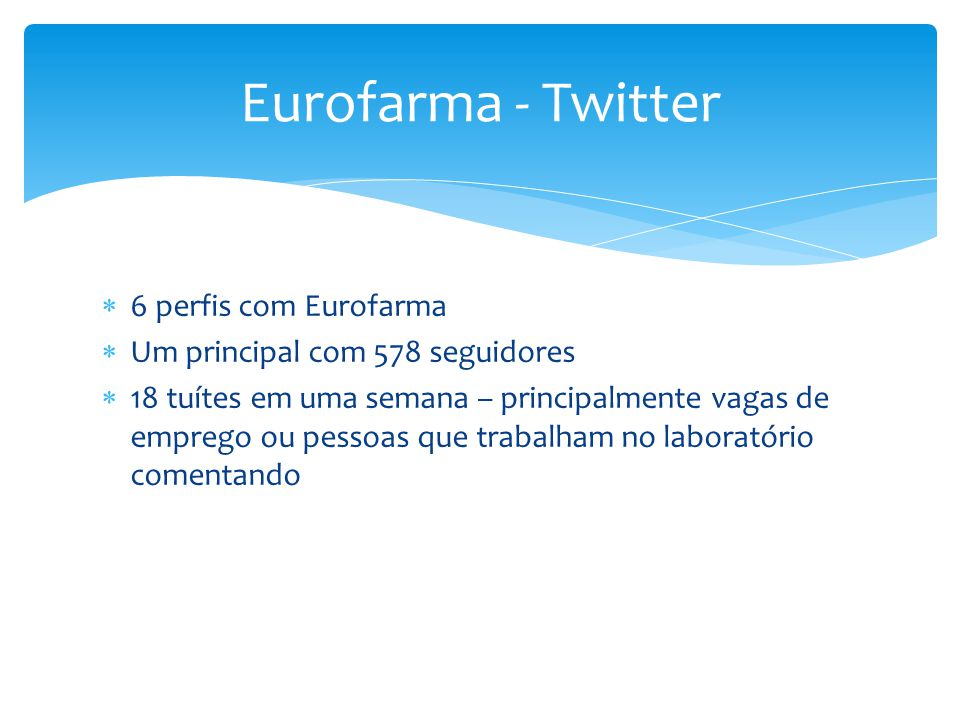 Eurofarma - Twitter 6 perfis com Eurofarma