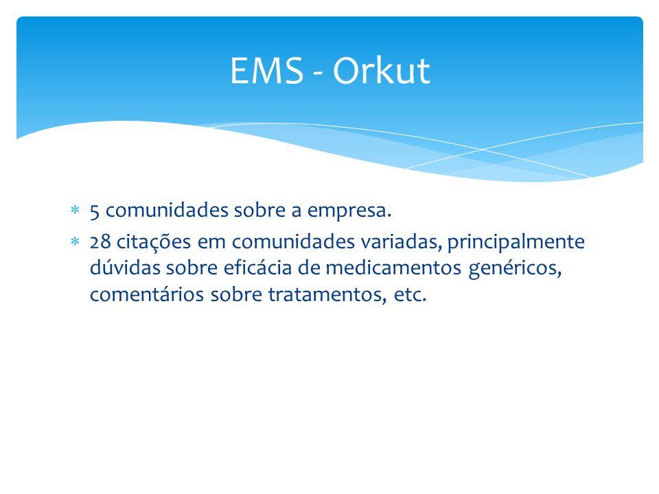EMS - Orkut 5 comunidades sobre a empresa.