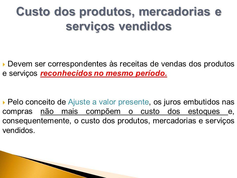 Custo dos produtos, mercadorias e serviços vendidos
