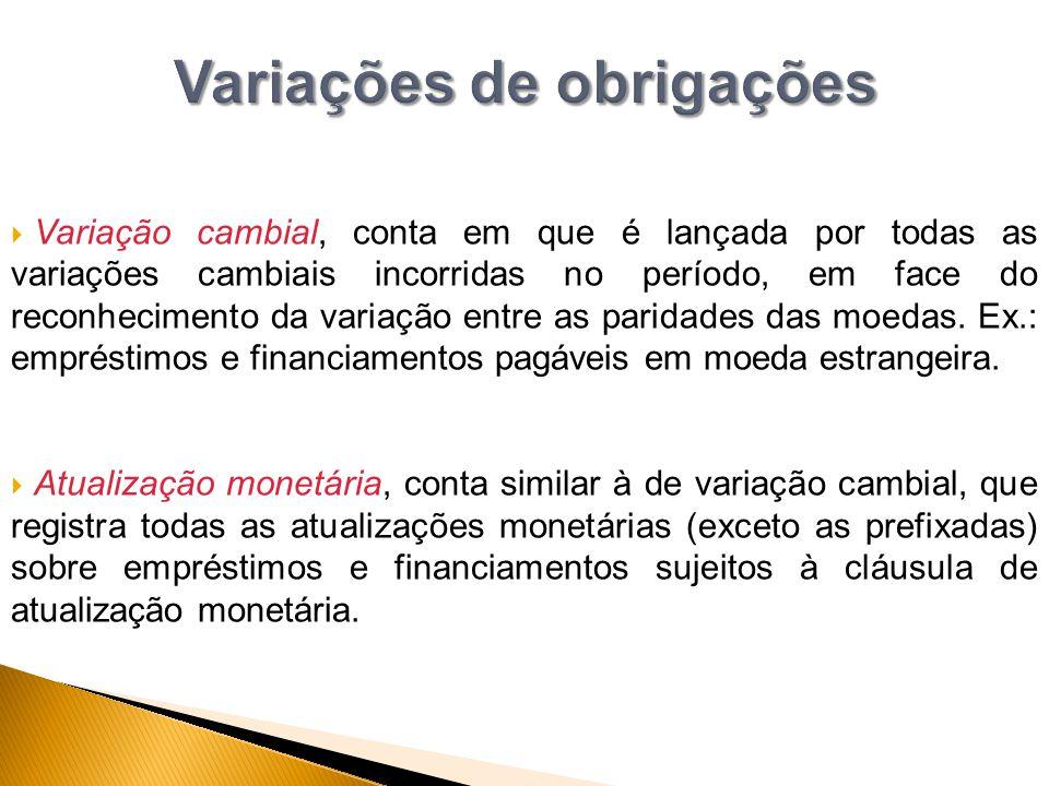 Variações de obrigações