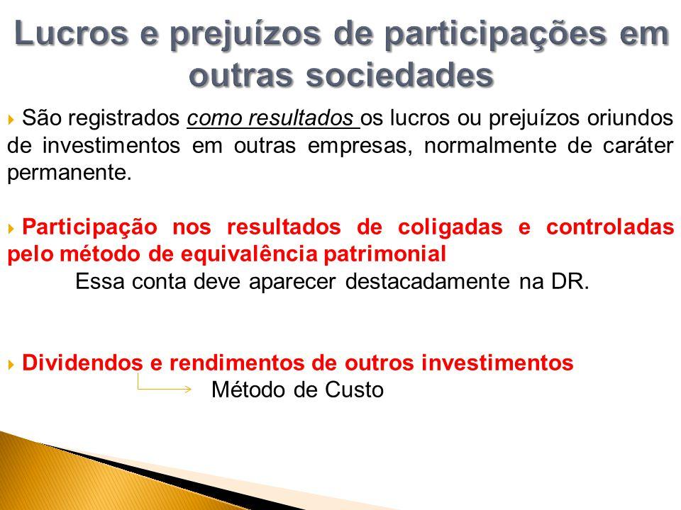 Lucros e prejuízos de participações em outras sociedades