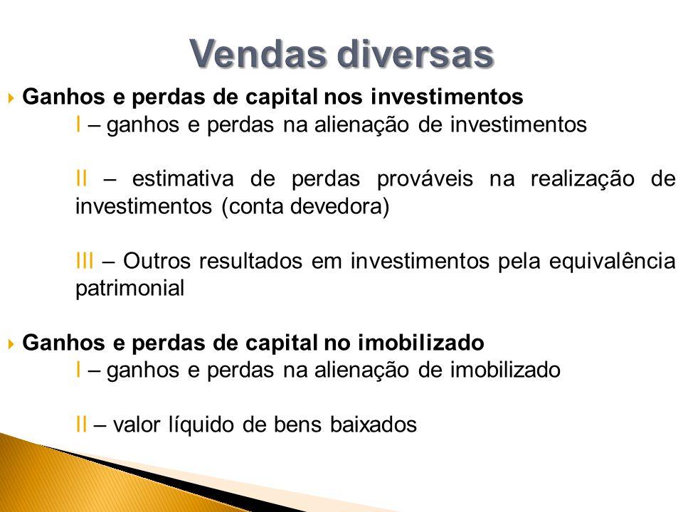 Vendas diversas Ganhos e perdas de capital nos investimentos