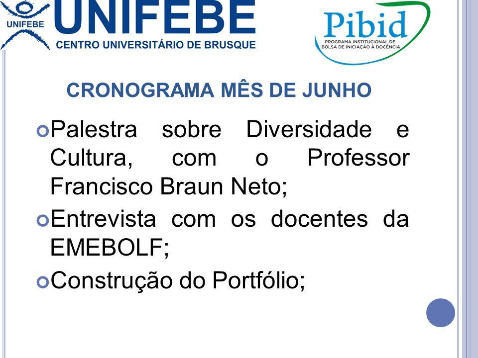 CRONOGRAMA MÊS DE JUNHO