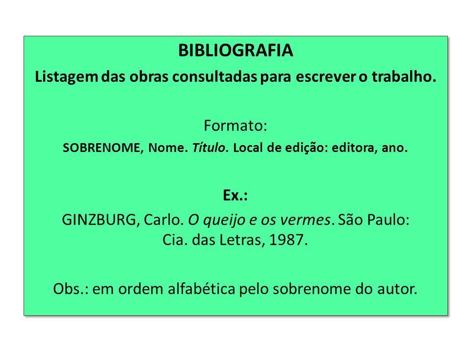 BIBLIOGRAFIA Listagem das obras consultadas para escrever o trabalho.
