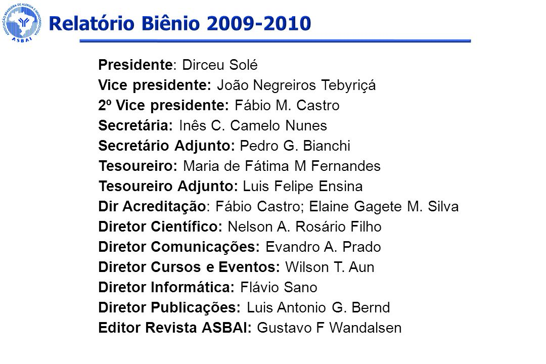 Relatório Biênio 2009-2010 Presidente: Dirceu Solé