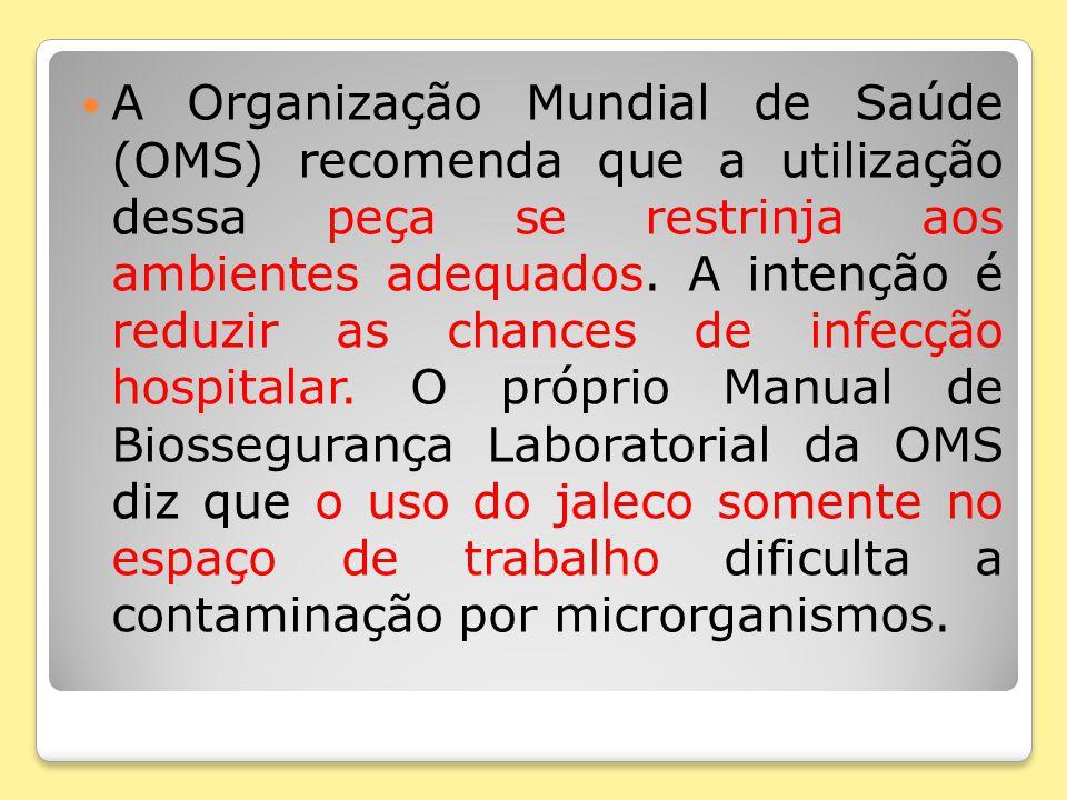 A Organização Mundial de Saúde (OMS) recomenda que a utilização dessa peça se restrinja aos ambientes adequados.