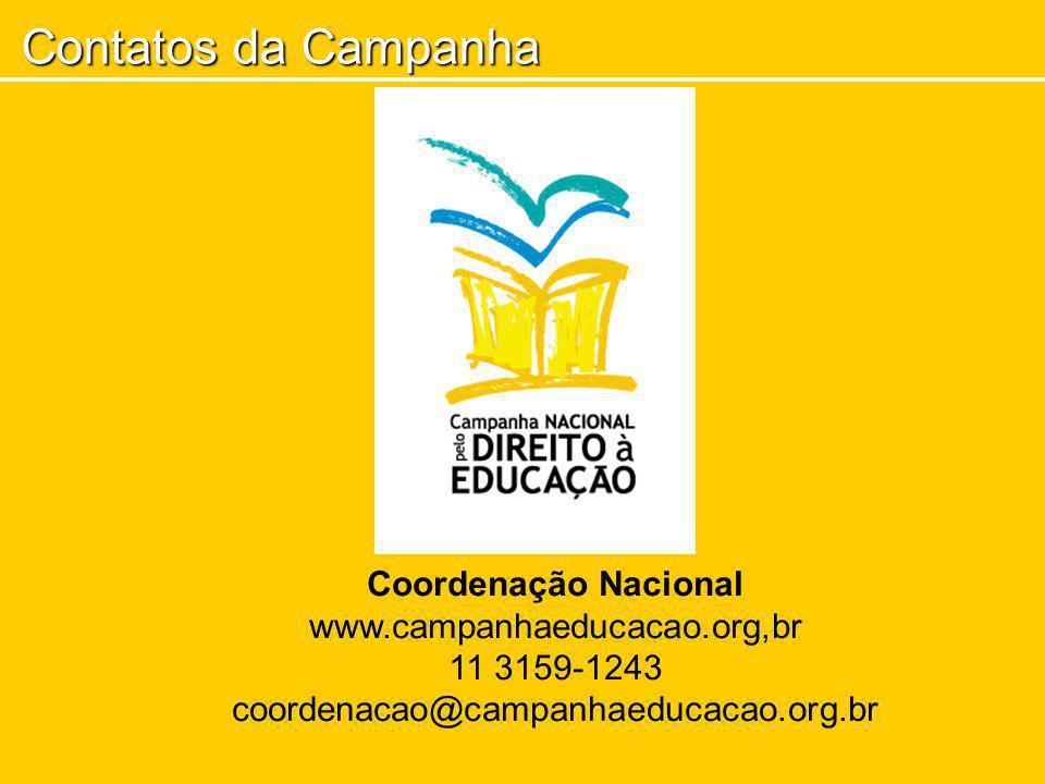 Contatos da Campanha Coordenação Nacional www.campanhaeducacao.org,br