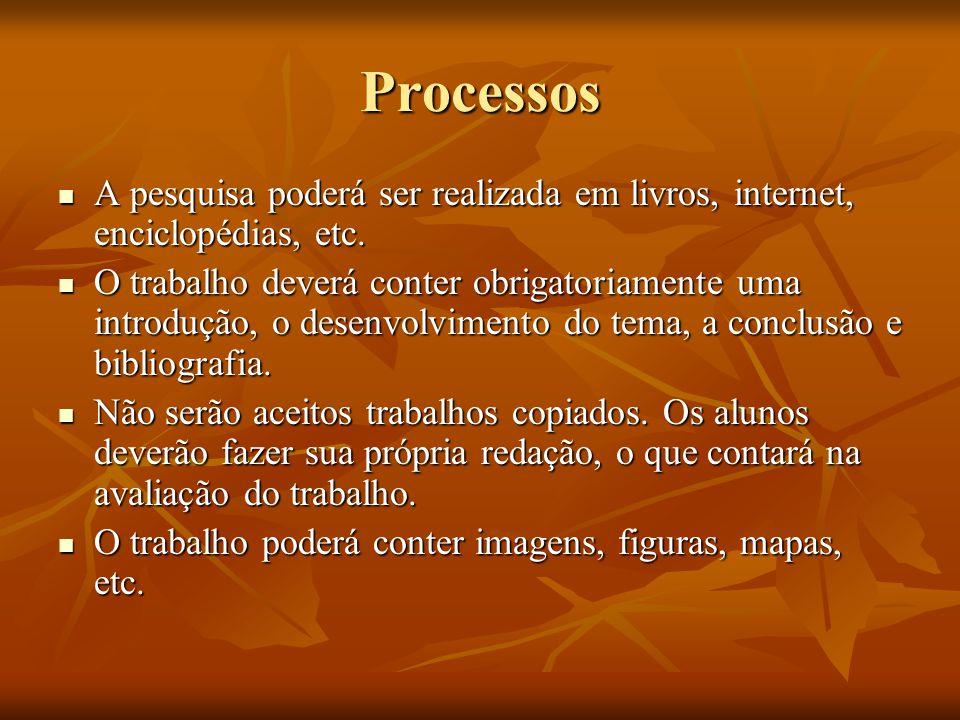 Processos A pesquisa poderá ser realizada em livros, internet, enciclopédias, etc.