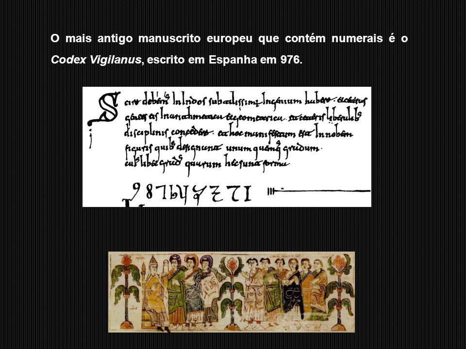 O mais antigo manuscrito europeu que contém numerais é o Codex Vigilanus, escrito em Espanha em 976.