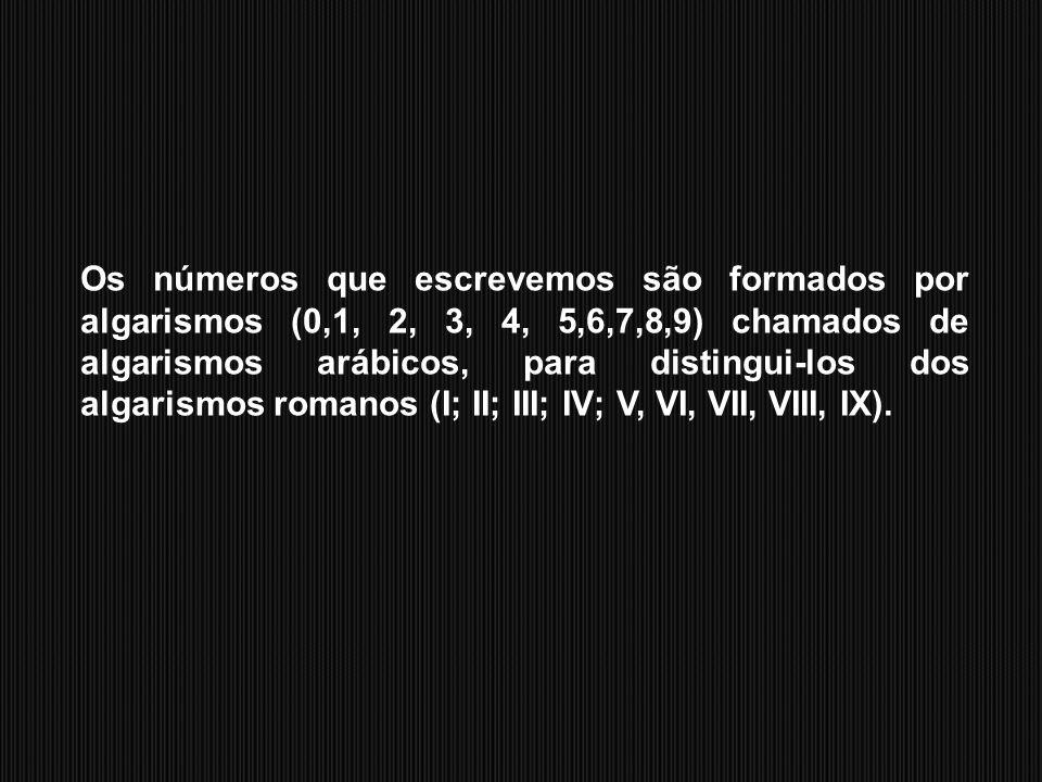 Os números que escrevemos são formados por algarismos (0,1, 2, 3, 4, 5,6,7,8,9) chamados de algarismos arábicos, para distingui-los dos algarismos romanos (I; II; III; IV; V, VI, VII, VIII, IX).