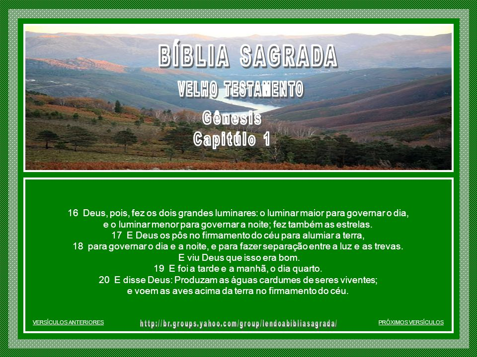 BÍBLIA SAGRADA Gênesis Capitúlo 1 VELHO TESTAMENTO