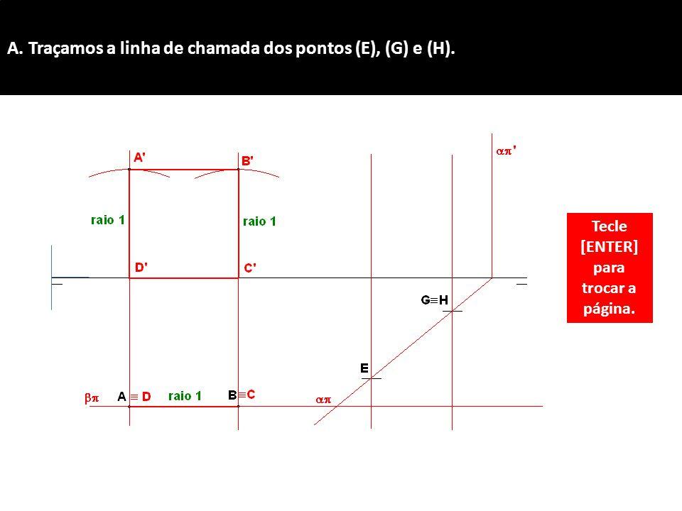 A. Traçamos a linha de chamada dos pontos (E), (G) e (H).