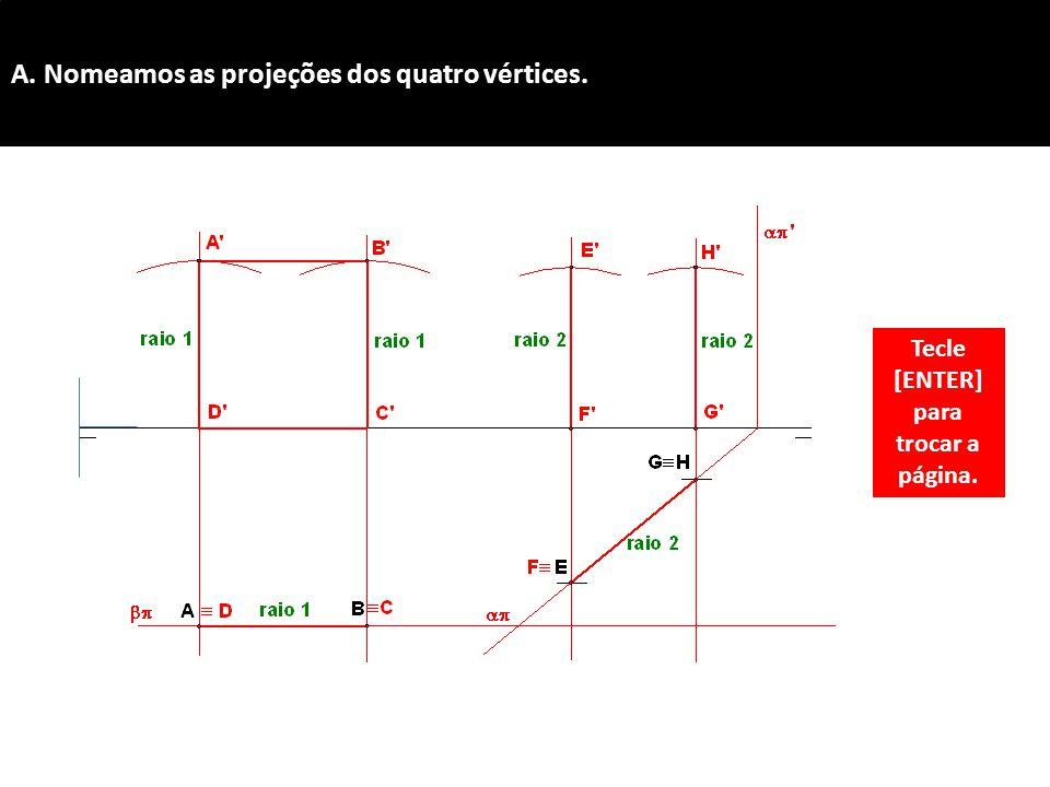 A. Nomeamos as projeções dos quatro vértices.