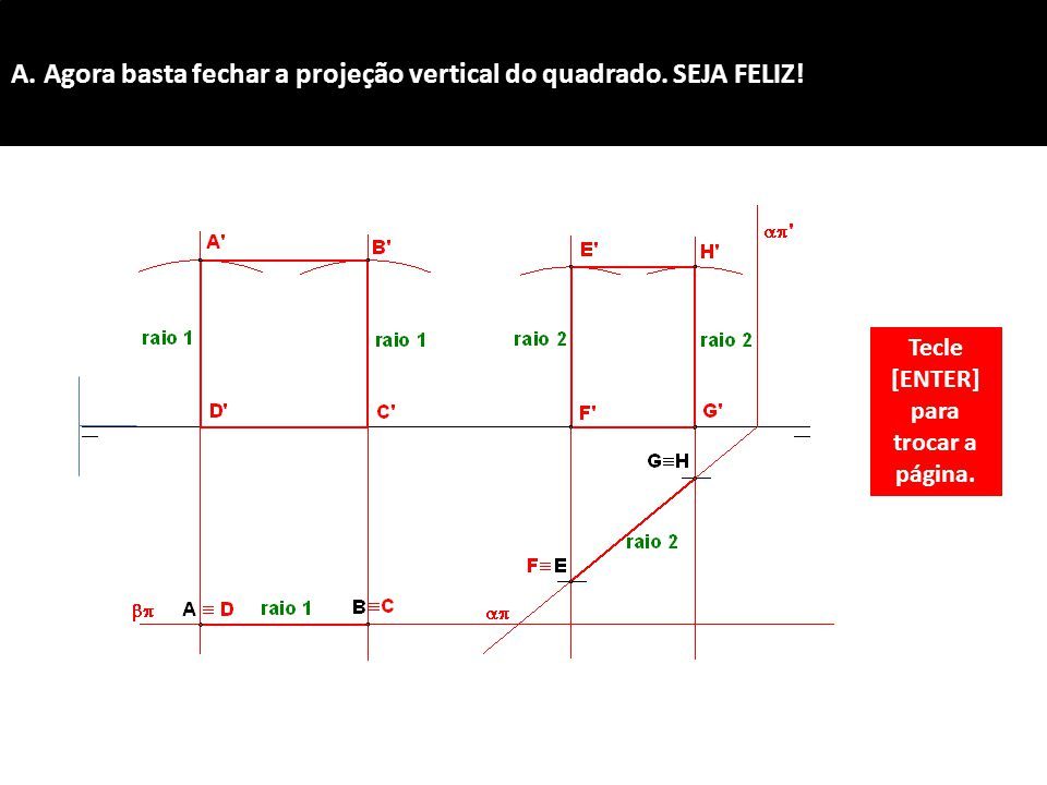 A. Agora basta fechar a projeção vertical do quadrado. SEJA FELIZ!