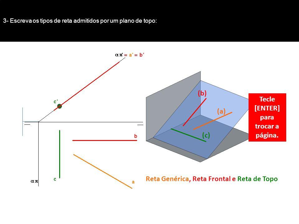 3- Escreva os tipos de reta admitidos por um plano de topo: