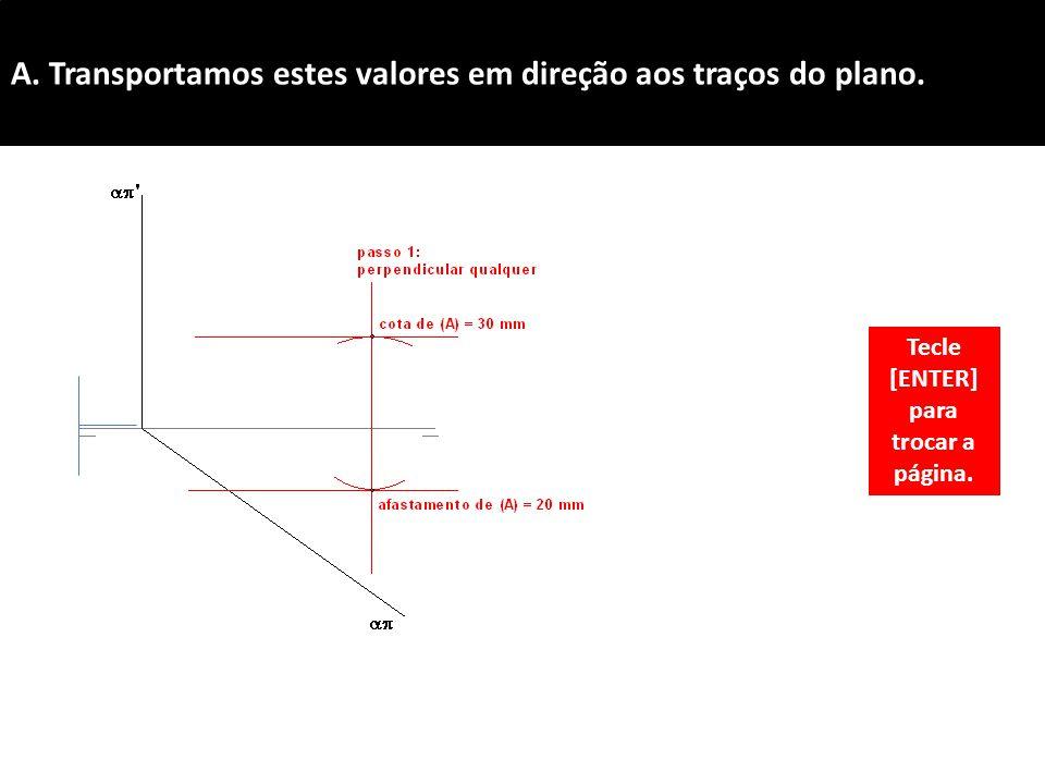 A. Transportamos estes valores em direção aos traços do plano.