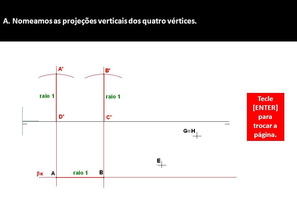 A. Nomeamos as projeções verticais dos quatro vértices.