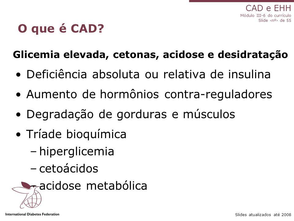Deficiência absoluta ou relativa de insulina