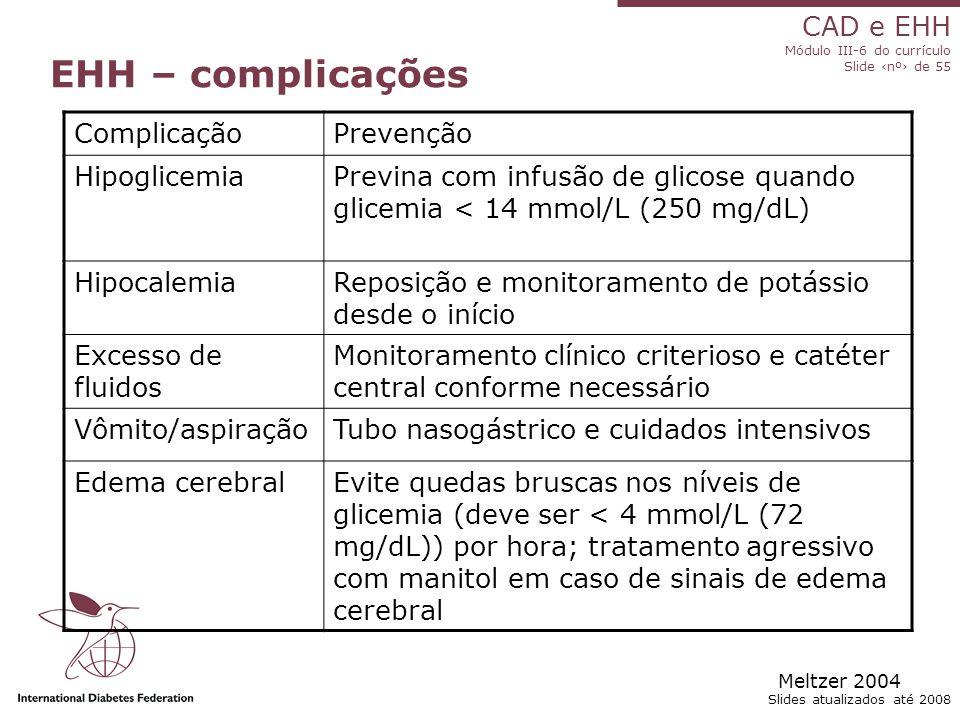 EHH – complicações Complicação Prevenção Hipoglicemia