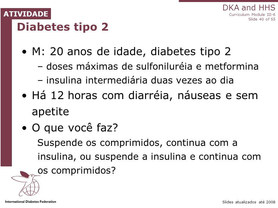 M: 20 anos de idade, diabetes tipo 2