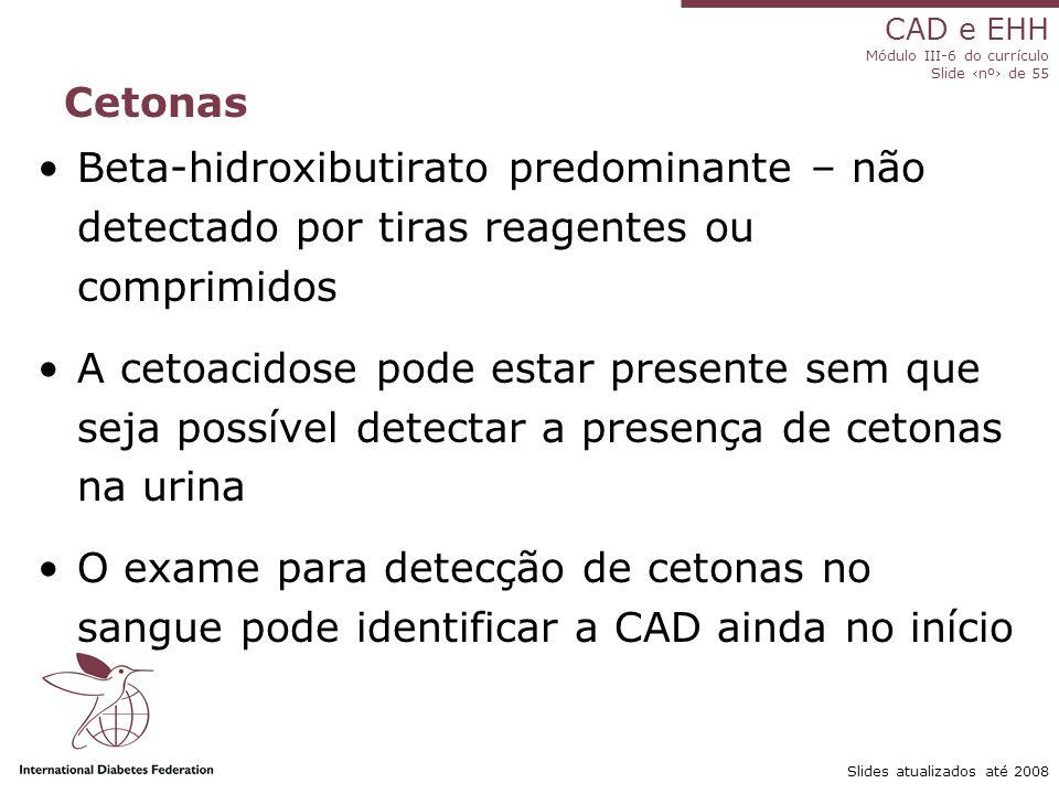 Cetonas Beta-hidroxibutirato predominante – não detectado por tiras reagentes ou comprimidos.