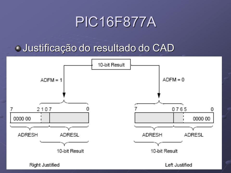 PIC16F877A Justificação do resultado do CAD