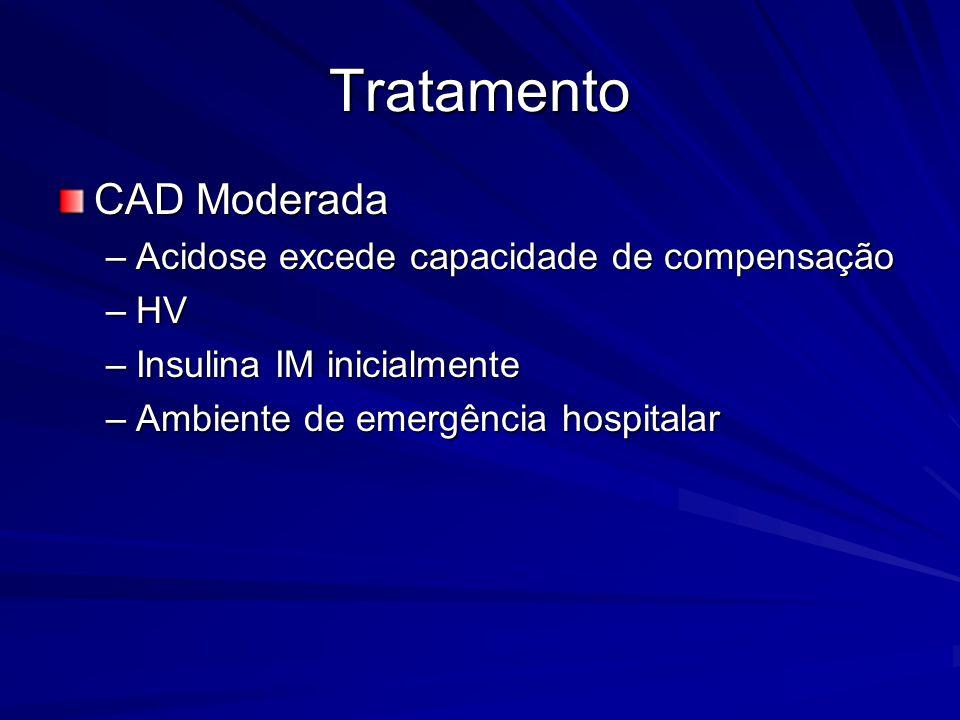 Tratamento CAD Moderada Acidose excede capacidade de compensação HV