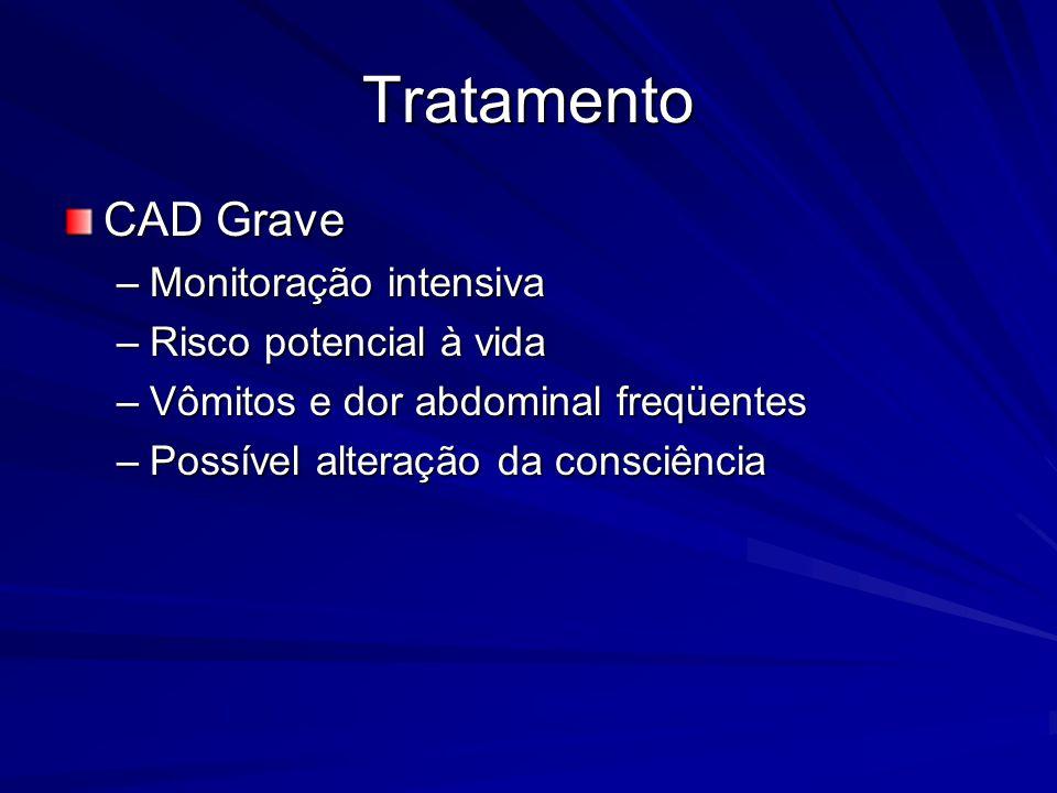 Tratamento CAD Grave Monitoração intensiva Risco potencial à vida