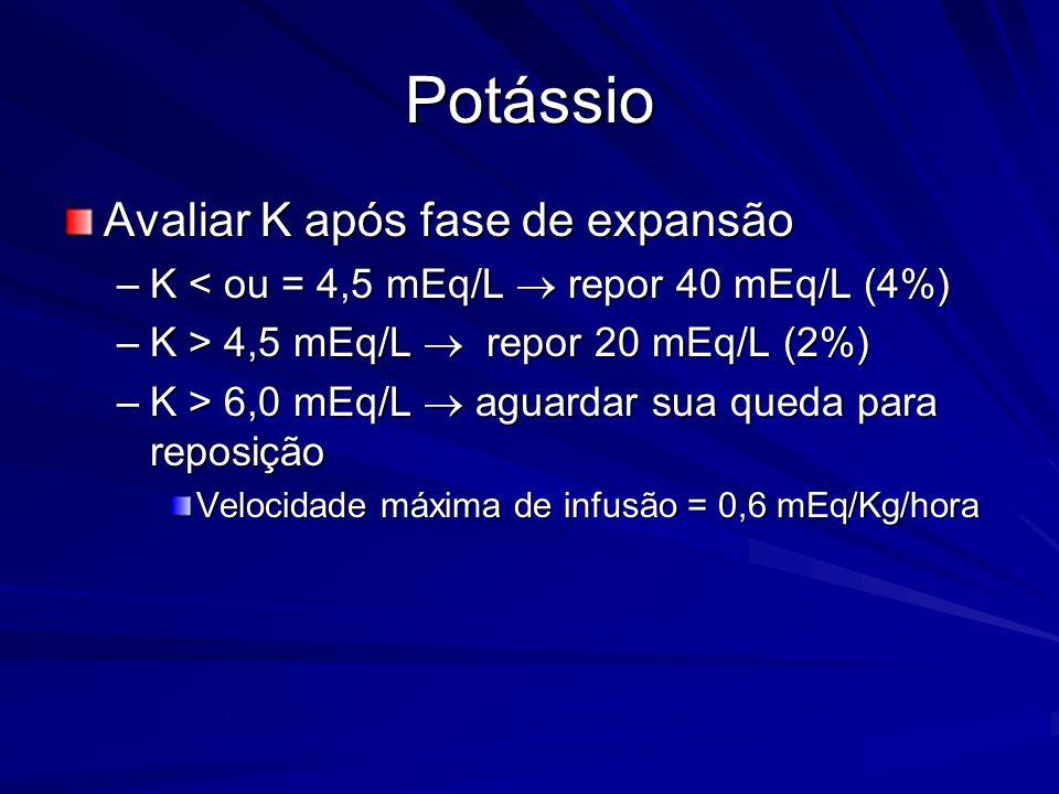 Potássio Avaliar K após fase de expansão