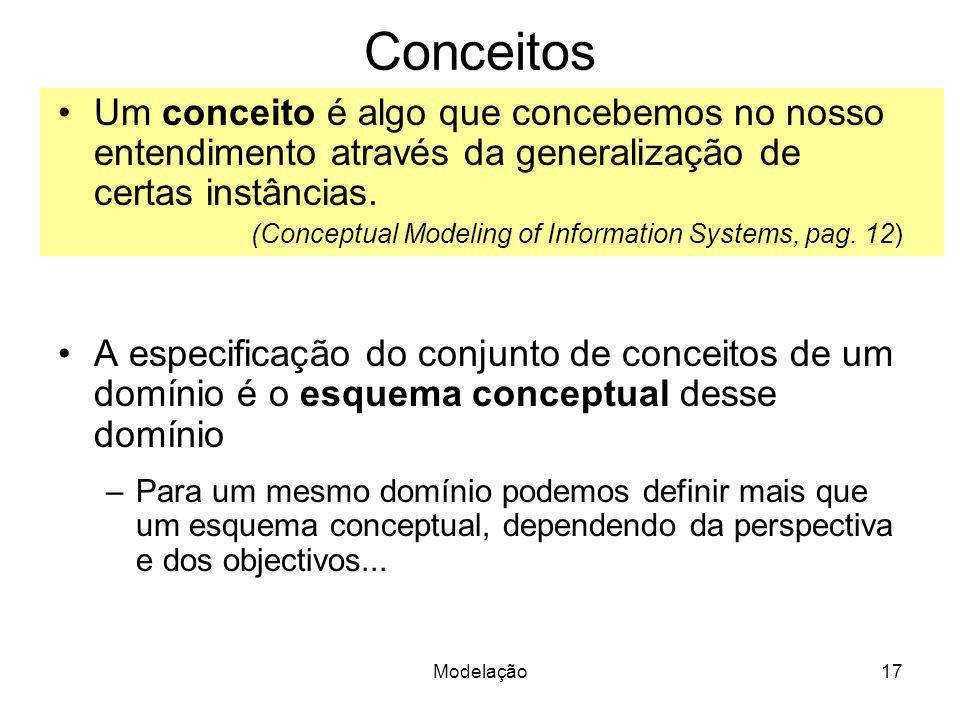 Conceitos Um conceito é algo que concebemos no nosso entendimento através da generalização de certas instâncias.