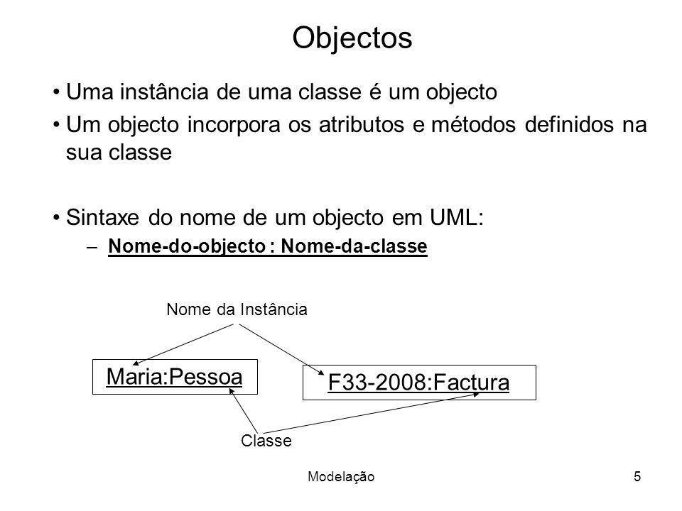 Objectos Uma instância de uma classe é um objecto