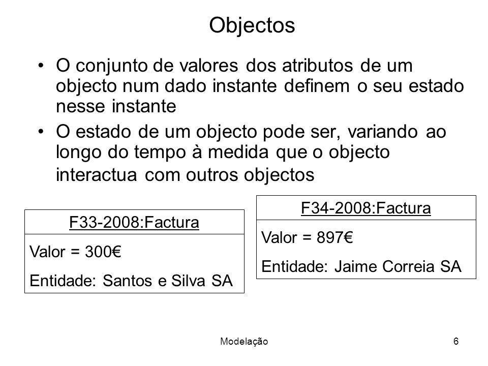 Objectos O conjunto de valores dos atributos de um objecto num dado instante definem o seu estado nesse instante.