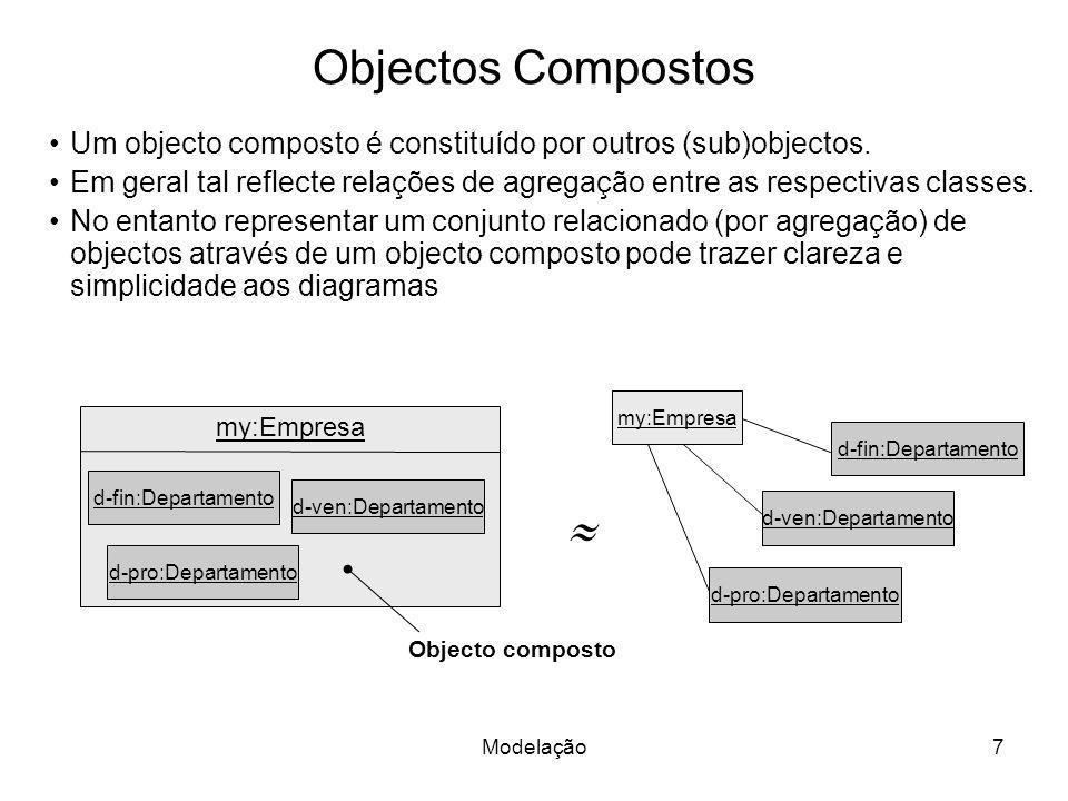 Objectos Compostos Um objecto composto é constituído por outros (sub)objectos.
