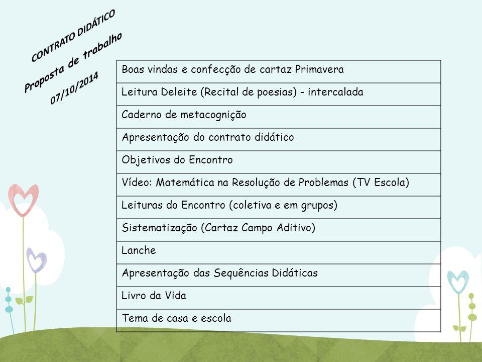 CONTRATO DIDÁTICO Proposta de trabalho 07/10/2014