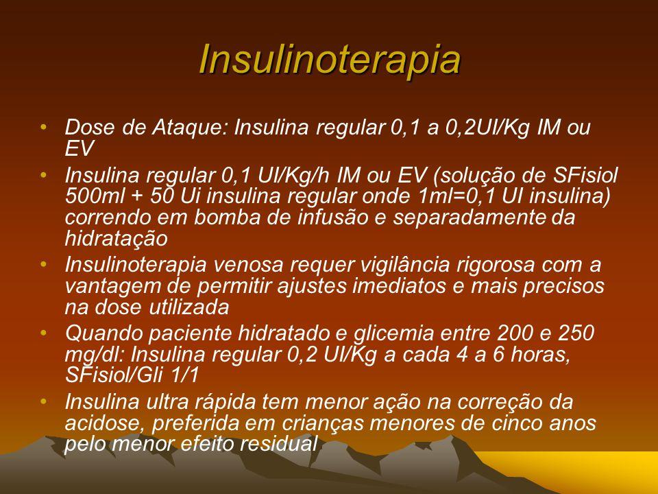 Insulinoterapia Dose de Ataque: Insulina regular 0,1 a 0,2UI/Kg IM ou EV.