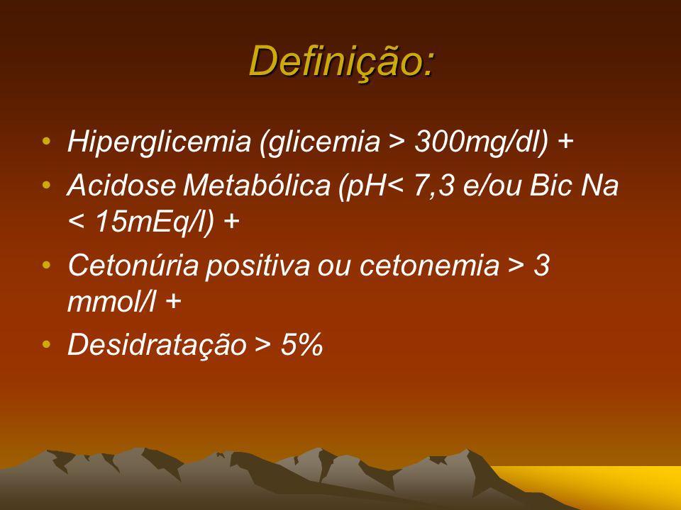 Definição: Hiperglicemia (glicemia > 300mg/dl) +