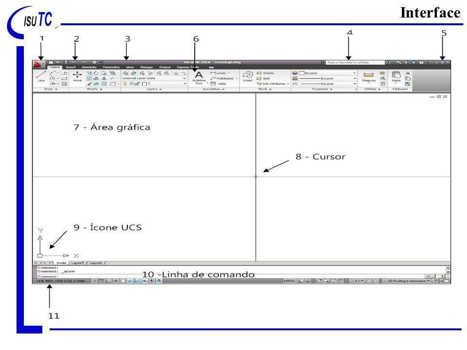 Interface Uma vez aberto do arquivo padrão de trabalho, existem algumas áreas/zonas que devemos destacar.
