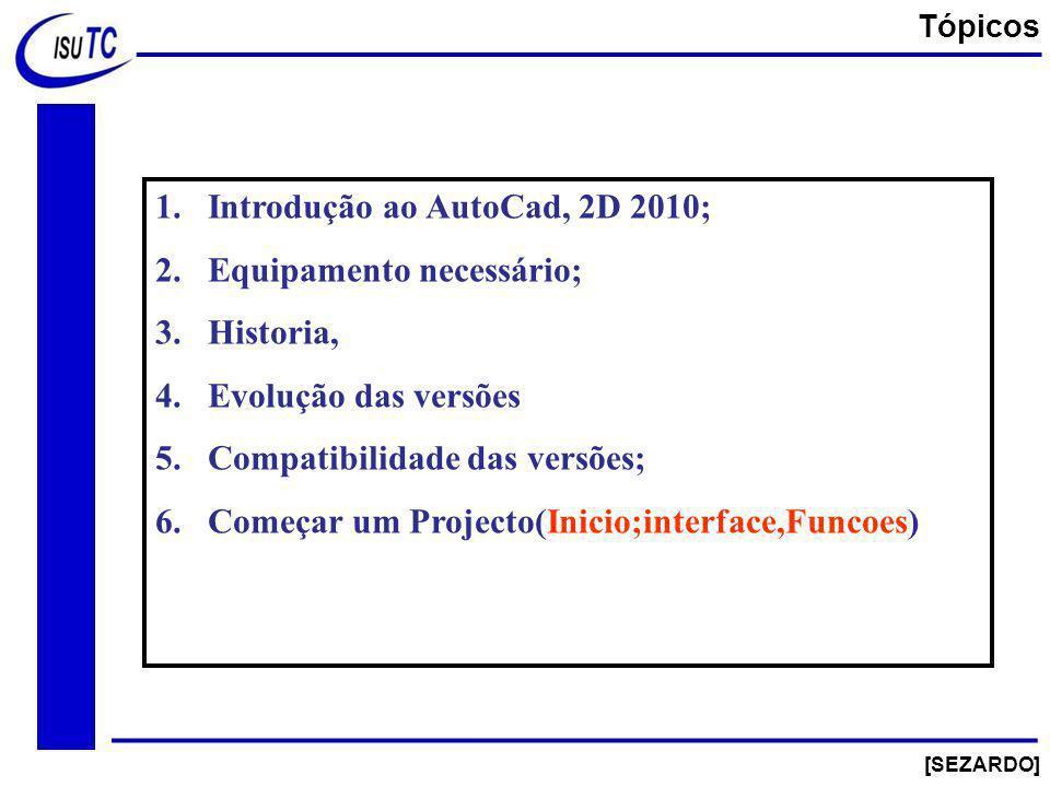 Introdução ao AutoCad, 2D 2010; Equipamento necessário; Historia,