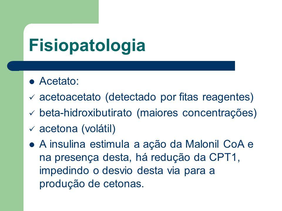 Fisiopatologia Acetato: acetoacetato (detectado por fitas reagentes)