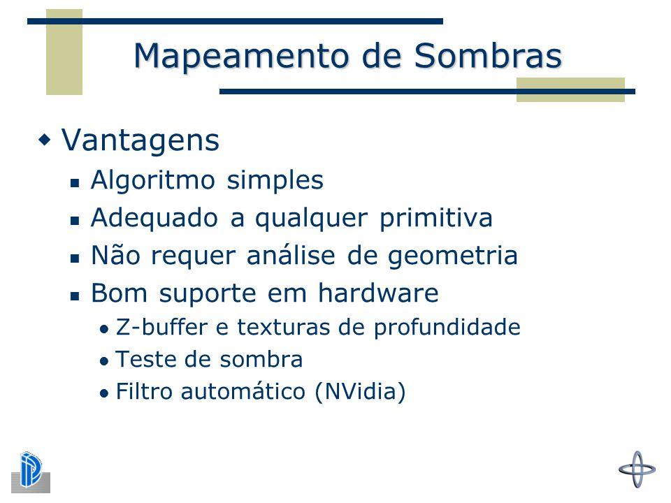 Mapeamento de Sombras Vantagens Algoritmo simples