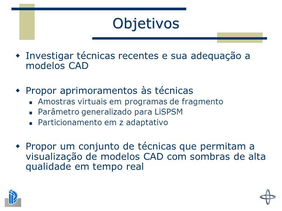 Objetivos Investigar técnicas recentes e sua adequação a modelos CAD