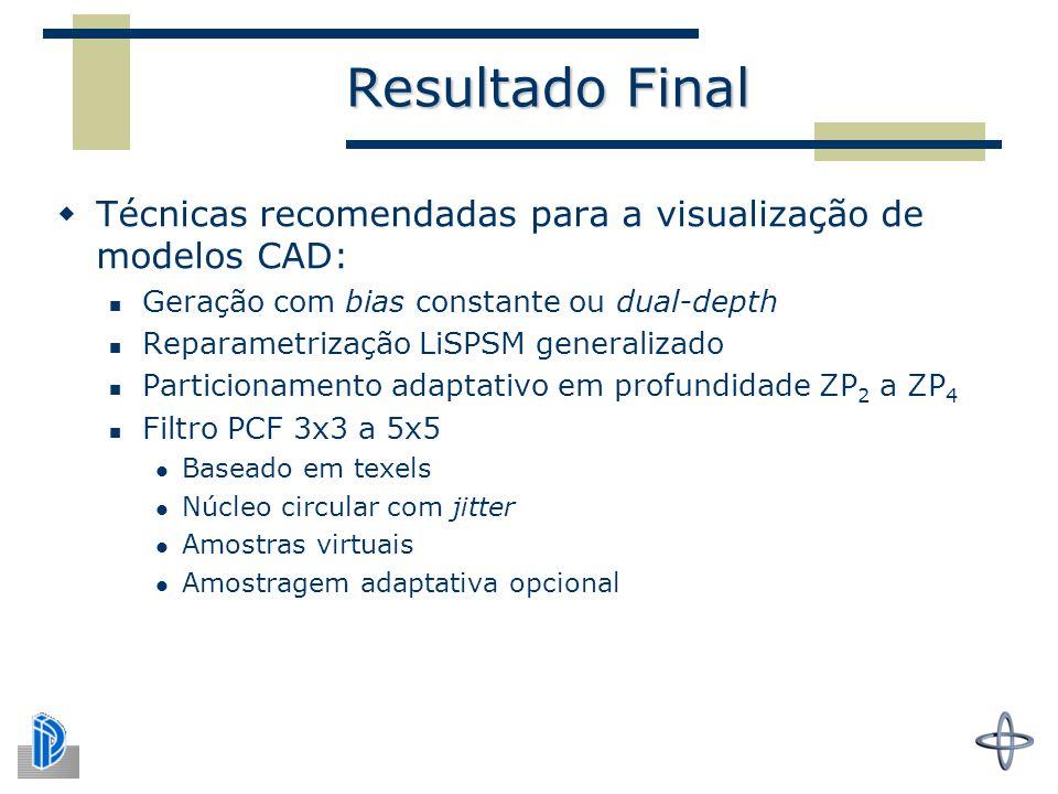 Resultado Final Técnicas recomendadas para a visualização de modelos CAD: Geração com bias constante ou dual-depth.
