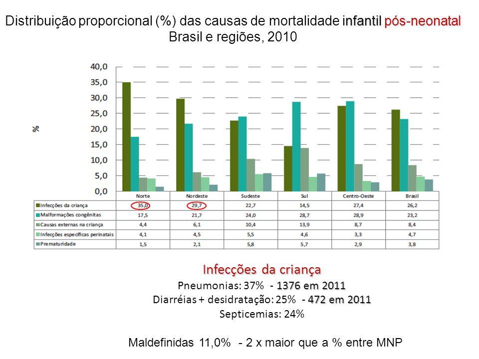 Distribuição proporcional (%) das causas de mortalidade infantil pós-neonatal Brasil e regiões, 2010