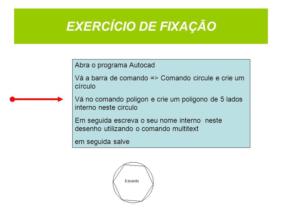 EXERCÍCIO DE FIXAÇÃO Abra o programa Autocad