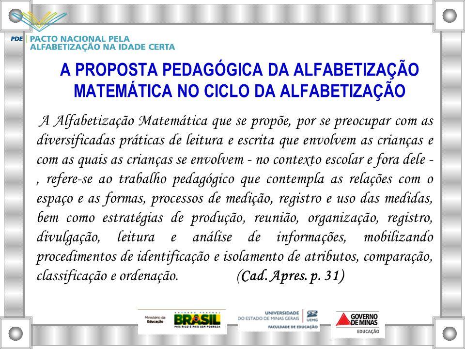 A PROPOSTA PEDAGÓGICA DA ALFABETIZAÇÃO MATEMÁTICA NO CICLO DA ALFABETIZAÇÃO