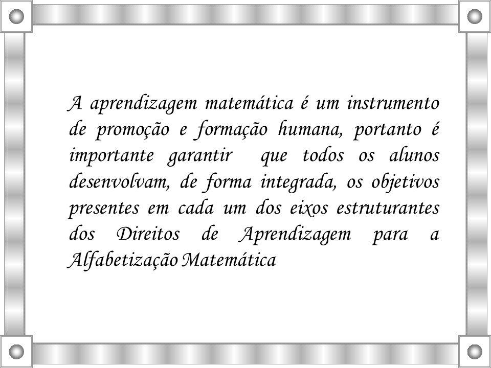 A aprendizagem matemática é um instrumento de promoção e formação humana, portanto é importante garantir que todos os alunos desenvolvam, de forma integrada, os objetivos presentes em cada um dos eixos estruturantes dos Direitos de Aprendizagem para a Alfabetização Matemática