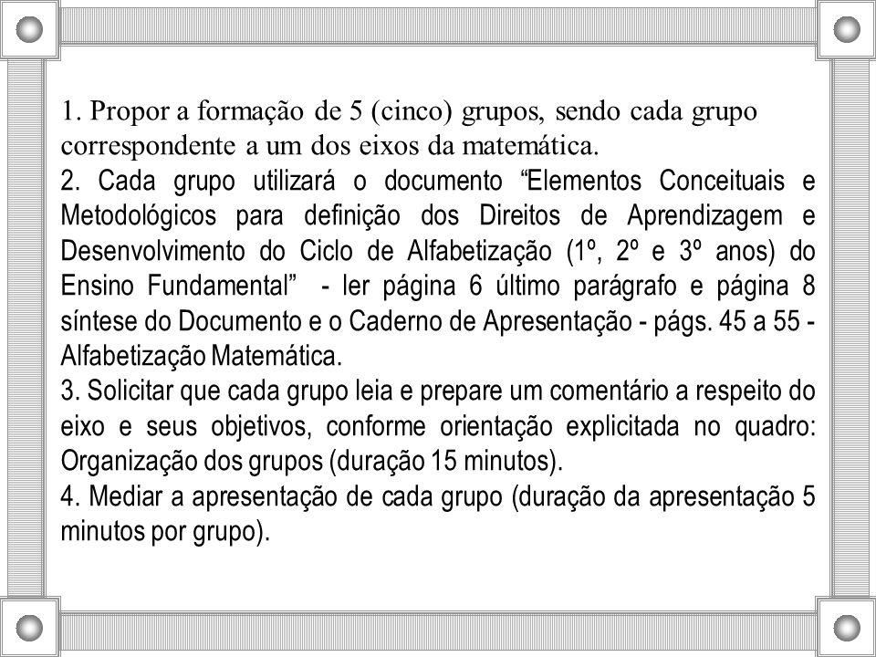 1. Propor a formação de 5 (cinco) grupos, sendo cada grupo correspondente a um dos eixos da matemática.