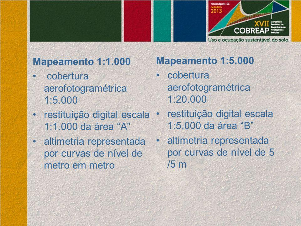 Mapeamento 1:1.000 cobertura aerofotogramétrica 1:5.000. restituição digital escala 1:1.000 da área A