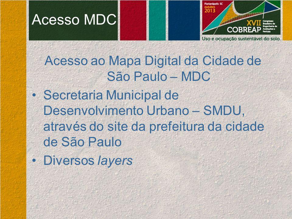 Acesso ao Mapa Digital da Cidade de São Paulo – MDC